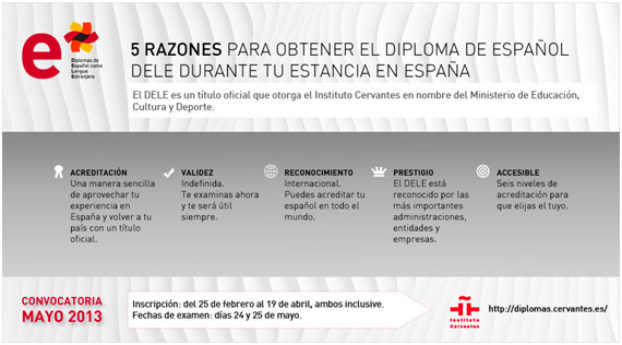 ABIERTO EL PLAZO DE INSCRIPCIÓN PARA OBTENER EN MAYO EL DIPLOMA DE ESPAÑOL COMO LENGUA EXTRANJERA (DELE)